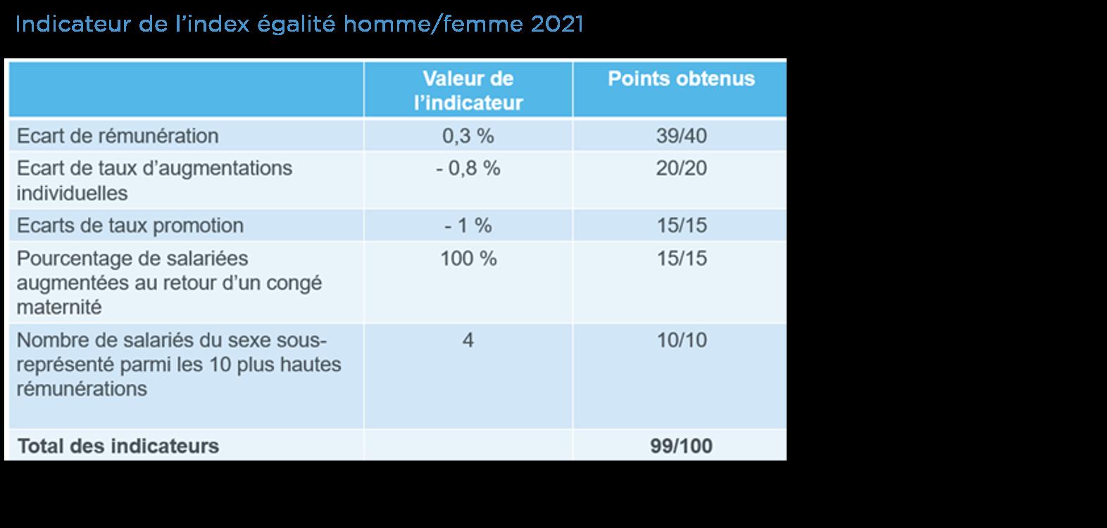Indicateurs de l'indice 2021